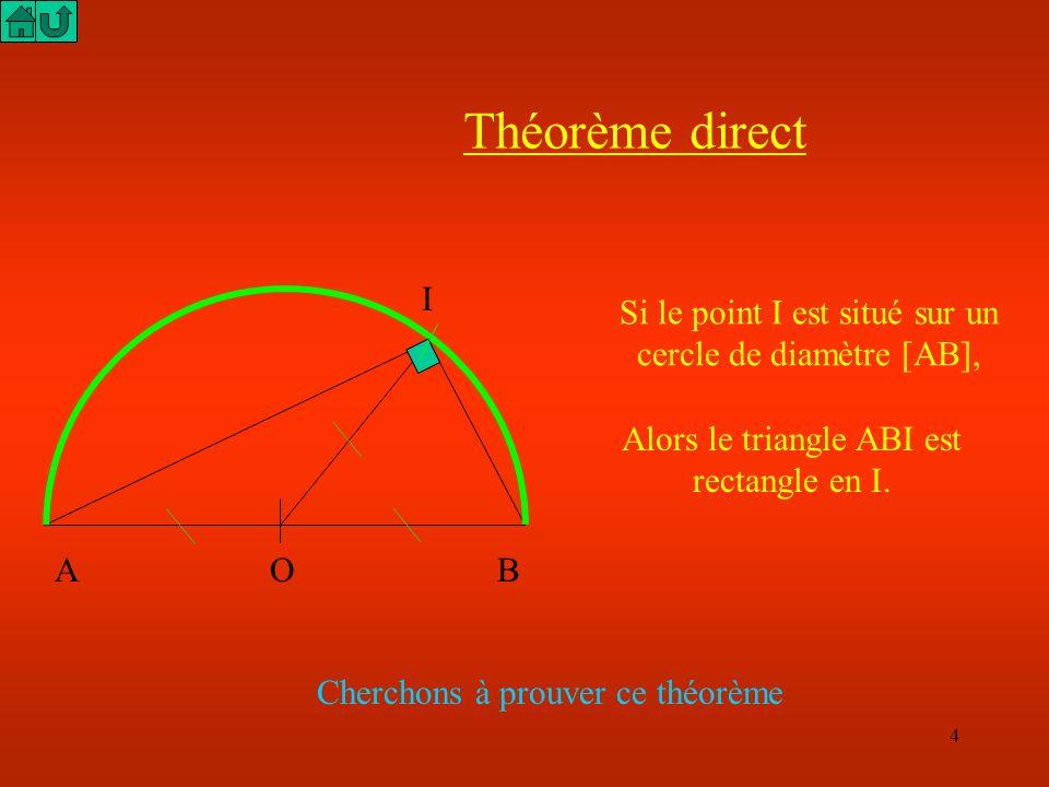 Théorème directI. Si le point I est situé sur un cercle de diamètre [AB], Alors le triangle ABI est rectangle en I.